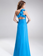 A-Line/Princess One-Shoulder Floor-Length Chiffon Prom Dress With Beading Split Front Cascading Ruffles (018004809)
