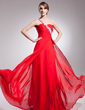 A-Line/Princess One-Shoulder Sweep Train Chiffon Evening Dress With Ruffle Beading Appliques Lace Sequins (017014570)