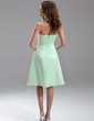 A-Line/Princess Strapless Knee-Length Satin Bridesmaid Dress (007000867)