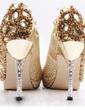 Kvinnor Satäng Cone Heel Stängt Toe Plattform Pumps med Rhinestones Glittrande Glitter Kristall Heel (047031210)