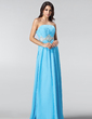 A-Line/Princess Strapless Floor-Length Chiffon Prom Dress With Ruffle Beading (018005216)