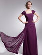 A-Line/Princess Square Neckline Floor-Length Chiffon Mother of the Bride Dress With Ruffle (008014539)