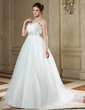 Empire Sweetheart Court Train Tulle Wedding Dress With Beading Feather Appliques Lace Sequins Bow(s) (002004768)
