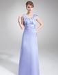 Kılıf Yuvarlak Yaka Uzun Etekli Satin Gelin Annesi Elbisesi Ile Büzgü (008006532)