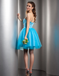 A-Line/Princess Sweetheart Knee-Length Satin Tulle Homecoming Dress (022009588)