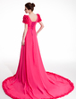 A-Line/Princess V-neck Chapel Train Chiffon Prom Dress With Ruffle Beading Bow(s) (018018953)