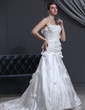 A-Line/Princess Sweetheart Chapel Train Charmeuse Tulle Wedding Dress With Lace Beading Flower(s) (002000142)