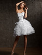 A-Line/Princess Sweetheart Knee-Length Organza Homecoming Dress With Beading Cascading Ruffles (022007289)