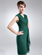 Sheath/Column V-neck Knee-Length Chiffon Mother of the Bride Dress With Cascading Ruffles (008005979)