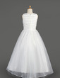 A-Line/Princess Floor-length Flower Girl Dress - Taffeta/Organza Sleeveless Scoop Neck With Ruffles/Flower(s)/Bow(s) (010014605)