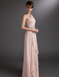 A-Line/Princess One-Shoulder Floor-Length Chiffon Mother of the Bride Dress With Beading Cascading Ruffles (008006378)