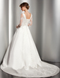 Ball-Gown V-neck Chapel Train Satin Wedding Dress With Lace Beading (002014523)