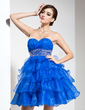 Empire Sweetheart Short/Mini Organza Homecoming Dress With Beading Cascading Ruffles (022021046)