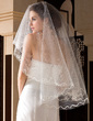 One-tier Fingertip Bridal Veils With Cut Edge (006036660)