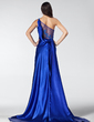 A-Line/Princess One-Shoulder Court Train Charmeuse Evening Dress With Ruffle Beading Appliques Lace (017005207)