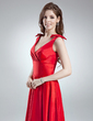 A-Line/Princess V-neck Ankle-Length Taffeta Bridesmaid Dress With Ruffle Bow(s) (007008210)