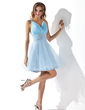A-Line/Princess Short/Mini Tulle Homecoming Dress With Ruffle Beading (022020898)