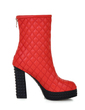 Leatherette Chunky Heel Platform Ankle Boots shoes (088054724)