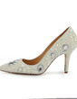 Patent Leather Cone Heel Pumps Closed Toe With Rhinestone Imitation Pearl shoes (085026647)