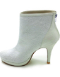 Women's Satin Cone Heel Boots Closed Toe Platform Pumps With Stitching Lace (047017789)