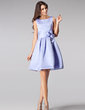 A-Line/Princess Square Neckline Short/Mini Satin Bridesmaid Dress With Flower(s) (007005200)