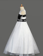 A-Line/Princess Floor-length Flower Girl Dress - Organza/Satin Sleeveless Scoop Neck With Lace (010014611)