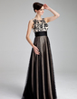 A-Line/Princess Scoop Neck Floor-Length Tulle Prom Dress With Ruffle Lace (018019083)