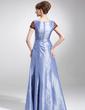 A-Line/Princess Square Neckline Floor-Length Taffeta Lace Mother of the Bride Dress With Ruffle (008016157)