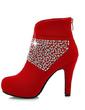 Süet İnce Topuk Ayak bileği Boots Ile Yapay elmas ayakkabı (088057269)