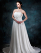 A-Line/Princess Sweetheart Court Train Chiffon Wedding Dress With Ruffle Beading Sequins (002004586)