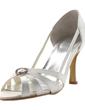 Women's Satin Spool Heel Peep Toe Sandals With Rhinestone (047011049)