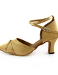 Women's Satin Heels Pumps Modern With Ankle Strap Dance Shoes (053013525)