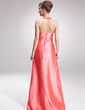 A-Line/Princess Halter Floor-Length Taffeta Bridesmaid Dress With Ruffle Beading (007001043)