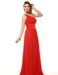 A-Line/Princess One-Shoulder Floor-Length Chiffon Holiday Dress With Ruffle (020016063)