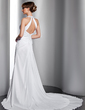 A-Line/Princess Halter Court Train Chiffon Wedding Dress With Ruffle Lace Beading Sequins (002012762)