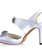 Women's Silk Like Satin Cone Heel Platform Sandals Slingbacks With Rhinestone (047030352)