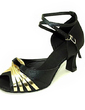 Women's Satin Patent Leather Heels Sandals Latin With Ankle Strap Dance Shoes (053013398)