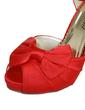 Satin Stiletto Heel Peep Toe Platform Pumps Sandals With Bowknot Buckle (047057118)