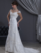 A-Line/Princess V-neck Court Train Satin Organza Wedding Dress With Lace Beading (002012040)