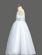 Ball Gown Ankle-length Flower Girl Dress - Organza/Satin Sleeveless Scoop Neck With Lace/Sash (010007921)