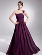 A-Line/Princess One-Shoulder Sweep Train Chiffon Evening Dress With Ruffle Beading (017014562)