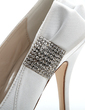 Women's Satin Stiletto Heel Closed Toe Pumps With Bowknot Rhinestone (047054641)