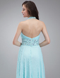 A-Line/Princess Halter Floor-Length Chiffon Prom Dress With Beading Pleated (018018786)