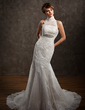Trumpet/Mermaid High Neck Chapel Train Tulle Lace Wedding Dress With Beading (002001234)