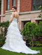 A-Line/Princess V-neck Chapel Train Organza Wedding Dress With Lace Beading Cascading Ruffles (002011777)