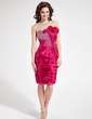 Sheath/Column Sweetheart Knee-Length Taffeta Cocktail Dress With Beading Sequins Bow(s) Pleated (016008816)