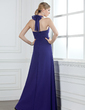 A-Line/Princess Halter Floor-Length Chiffon Bridesmaid Dress With Ruffle Bow(s) (007000931)