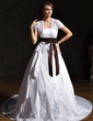 A-Line/Princess Strapless Chapel Train Taffeta Lace Wedding Dress With Ruffle Sash Appliques Lace Bow(s) (002011521)