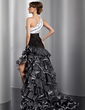 A-Line/Princess One-Shoulder Asymmetrical Organza Prom Dress With Ruffle Beading Cascading Ruffles (018014771)