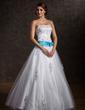 Duchesse-Linie Trägerlos Bodenlang Tüll Quinceañera Kleid (Kleid für die Geburtstagsfeier) mit Schleifenbänder/Stoffgürtel Perlen verziert Applikationen Spitze Schleife(n) (021002291)